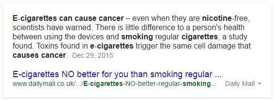 Smoking vs electronic cigarettes